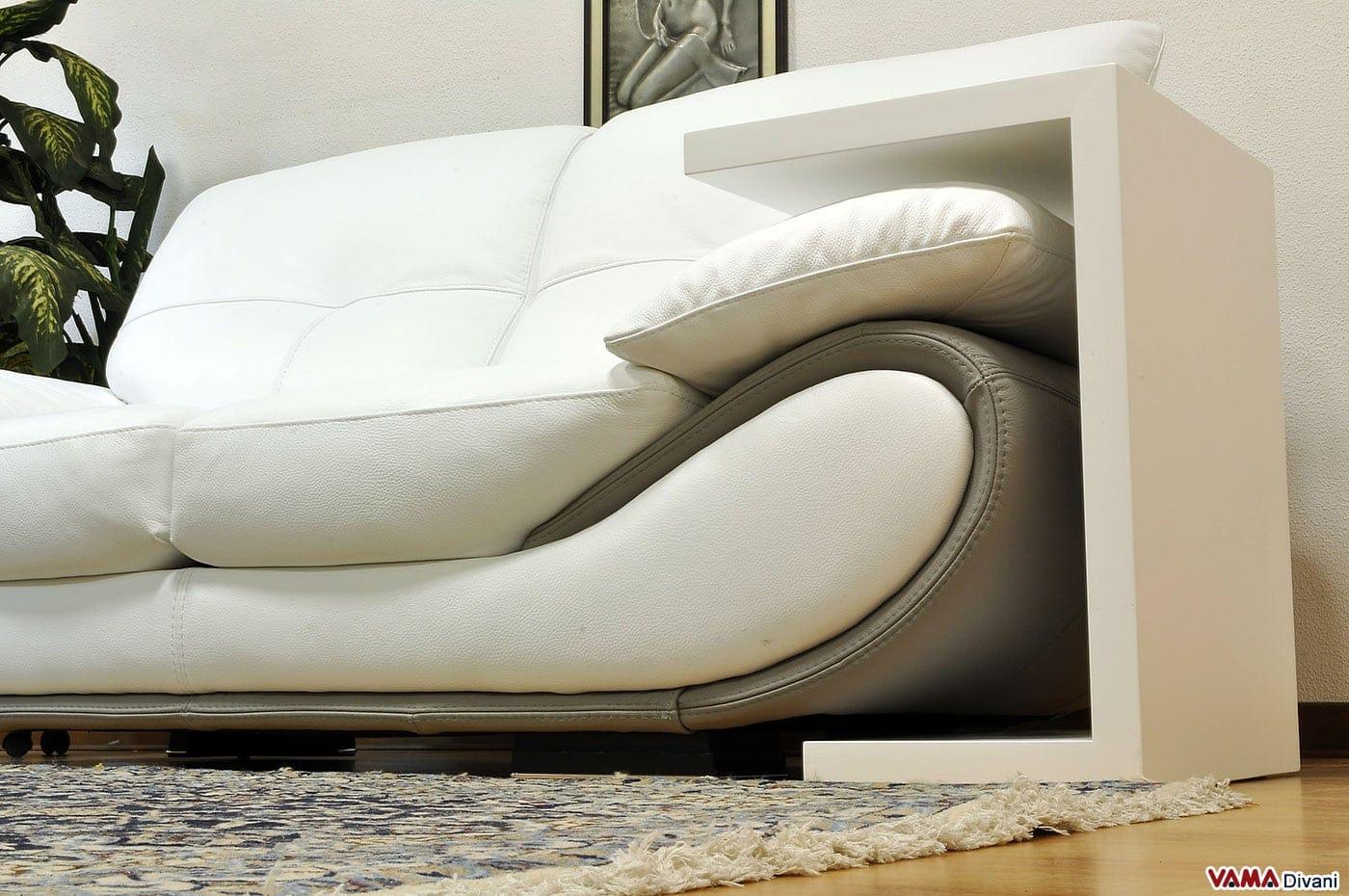 Divano moderno bianco in pelle prezzo e misure - Tavolino divano moderno ...