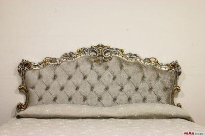 Testata letto in stile barocco oro argento con capitonnè e swarovski
