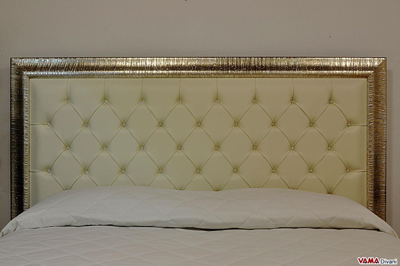 Letto capitonn con testata alta e cornice in legno vama - Spalliere letto in legno ...