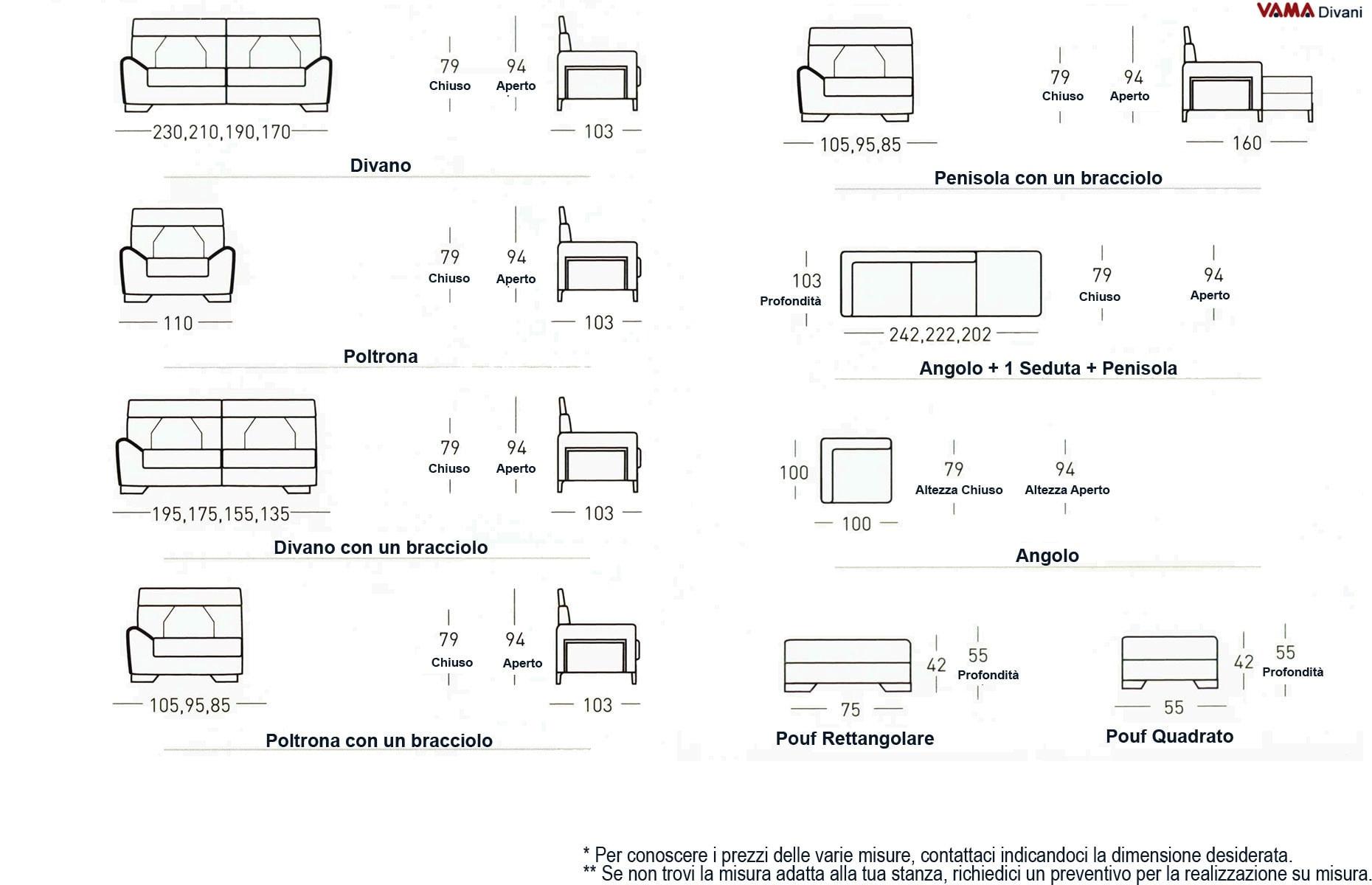 Divano moderno di design zoom vama divani for Dimensioni divano