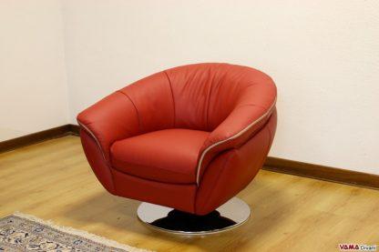 Poltrona moderna in pelle rossa con piatto girevole in acciaio cromato