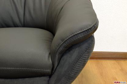 Poltrona moderna antracite nera con girevole cromato