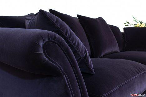 Bracciolo Divano Classico con bordino in Velluto di cotone colore cipolla viola