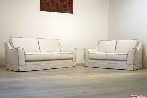 Salotto classico in tessuto bianco panna