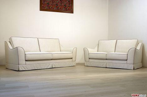 Salotto classico in tessuto bianco