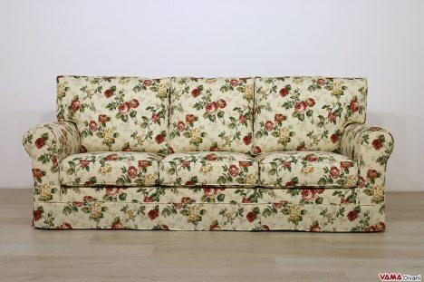 Divano 3 posti classico in tessuto a fiori