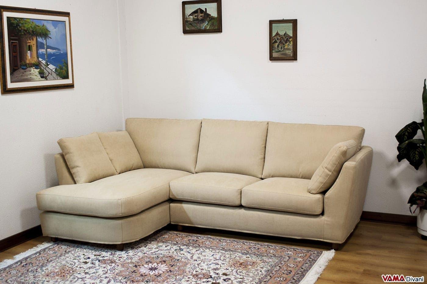 divano angolare piccolo in tessuto realizzabile su misura - Divano Letto Matrimoniale Dimensioni Ridotte