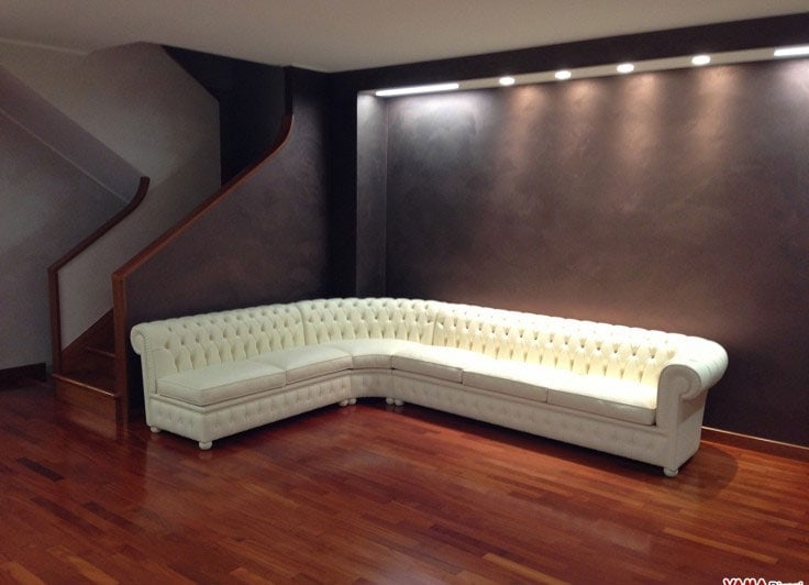Chesterfield leather corner sofa with round corner for Chester angolare