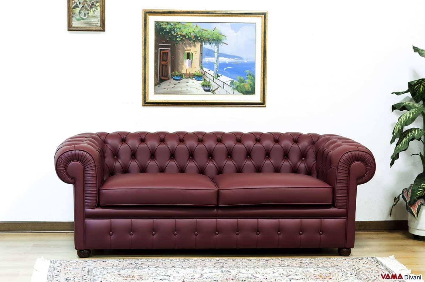 Salotto chesterfield in pelle colore rosso bordeaux - Divano letto chester ...