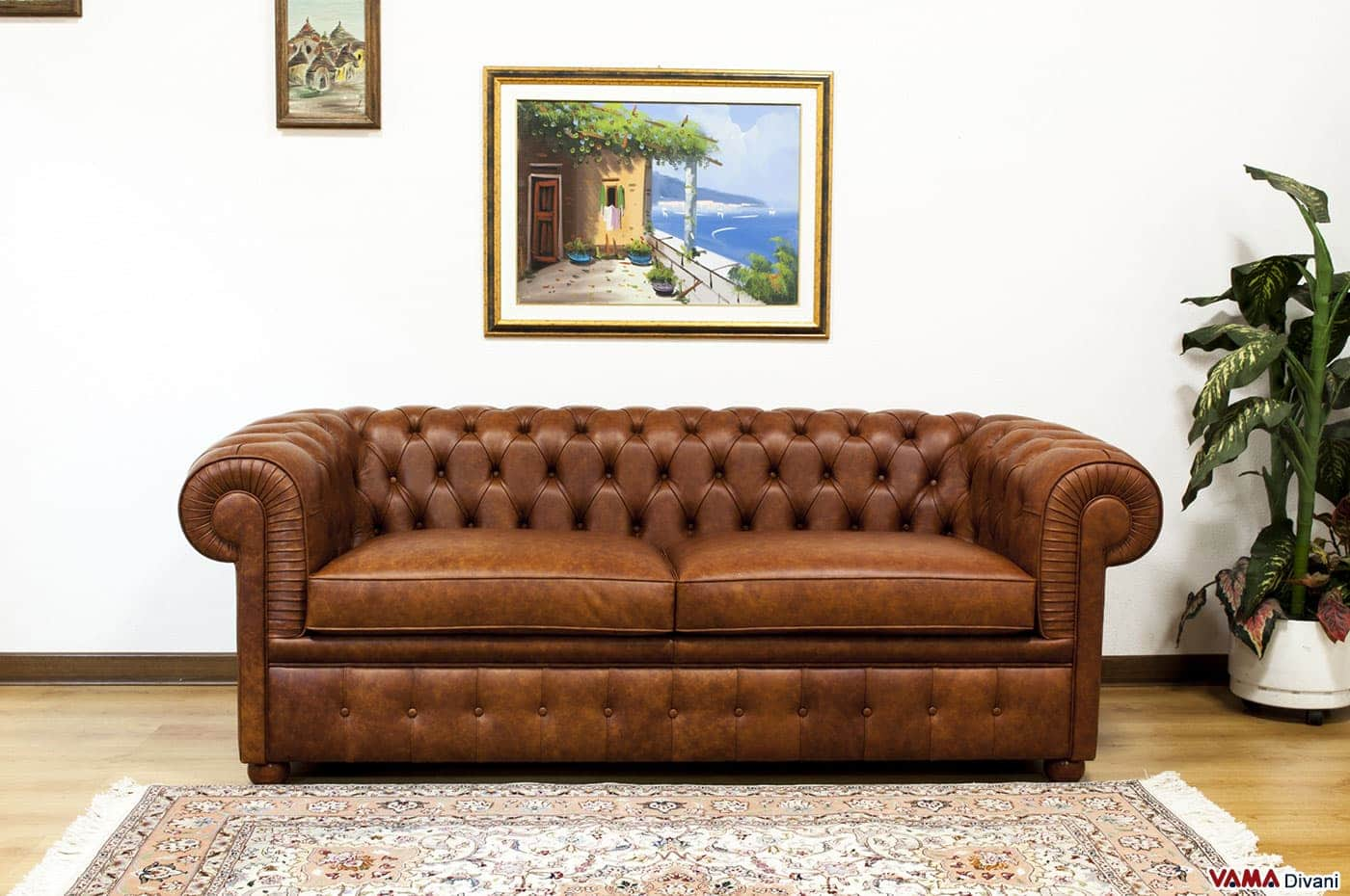 Chesterfield Vintage in Pelle Marrone Invecchiata