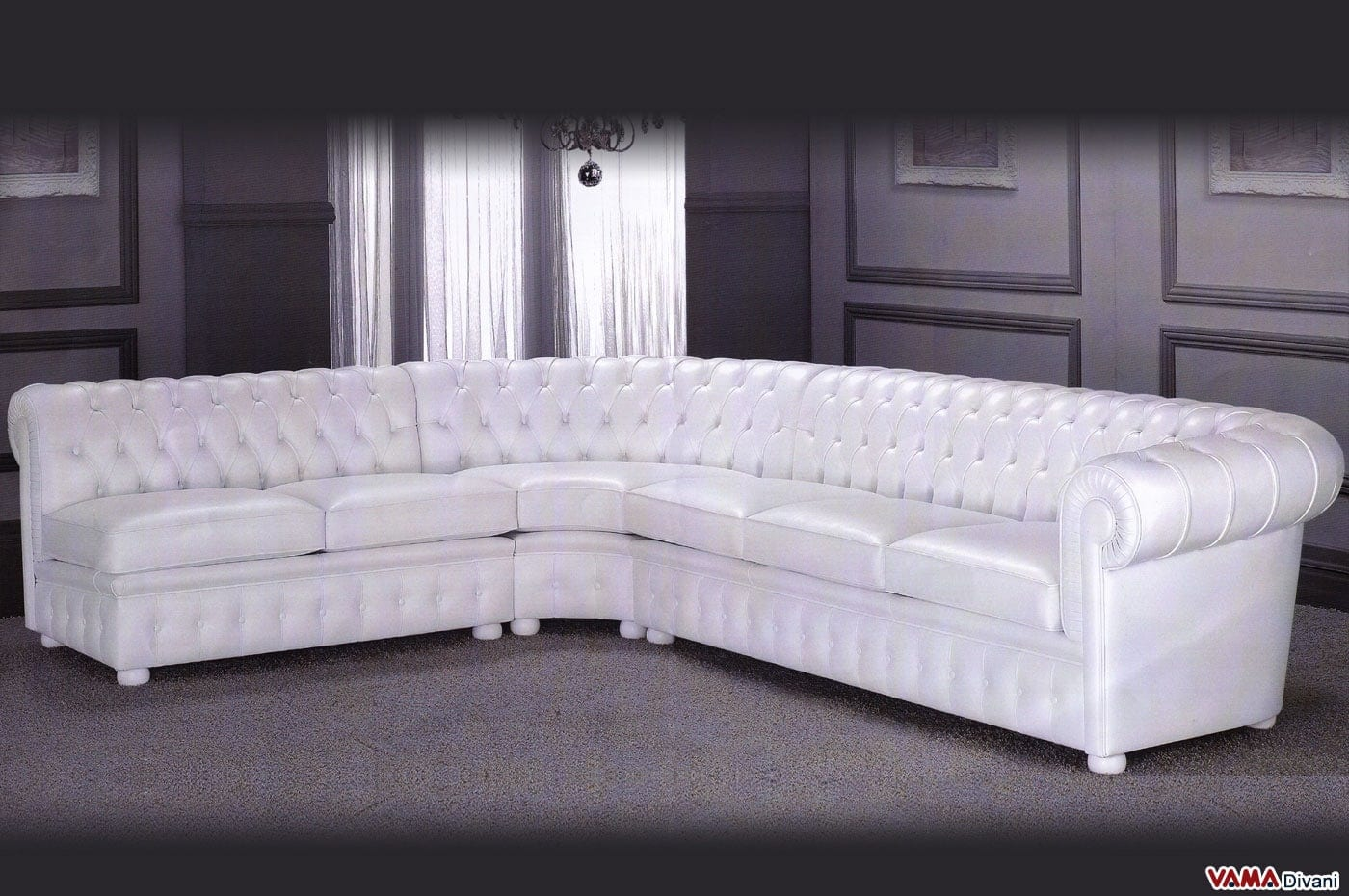 Divano chesterfield angolare con angolo tondo in vera pelle - Dimensioni divano ad angolo ...