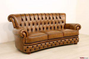 Divano Chesterfield con schienale alto in pelle marrone vintage