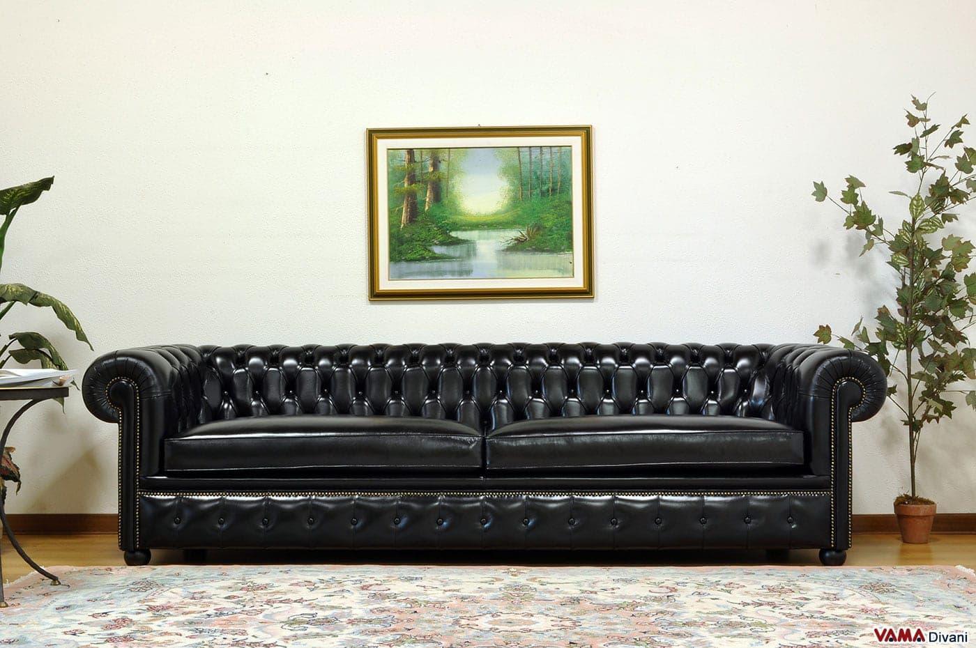 Divano chesterfield profondo di grandi dimensioni in pelle - Cuscini moderni divano ...