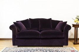 Divano Classico in Velluto di cotone colore cipolla viola