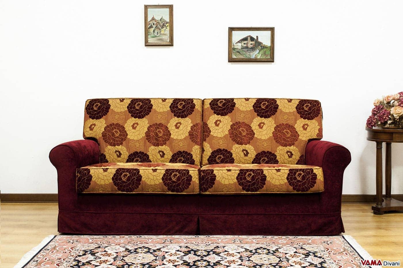 Divano Classico Bicolore Florence : Divano classico in tessuto sfoderabile anche su misura