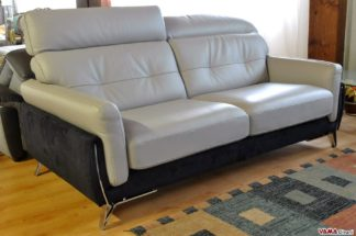 Divano Moderno grigio e nero (pelle e microfibra) a prezzo ribassato