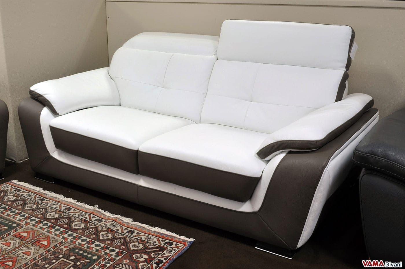 Latest divano posti con poggiatesta relax in pelle fiore - Divano letto 2 posti economico ...