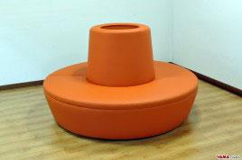Divano a Cerchio con Foro Centrale in ecopelle arancio