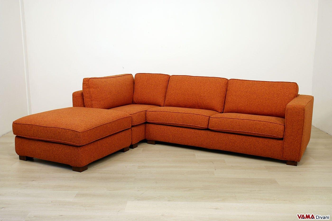 Divano angolare componibile arancione in offerta sconto 50 for Offerte divani angolari in tessuto
