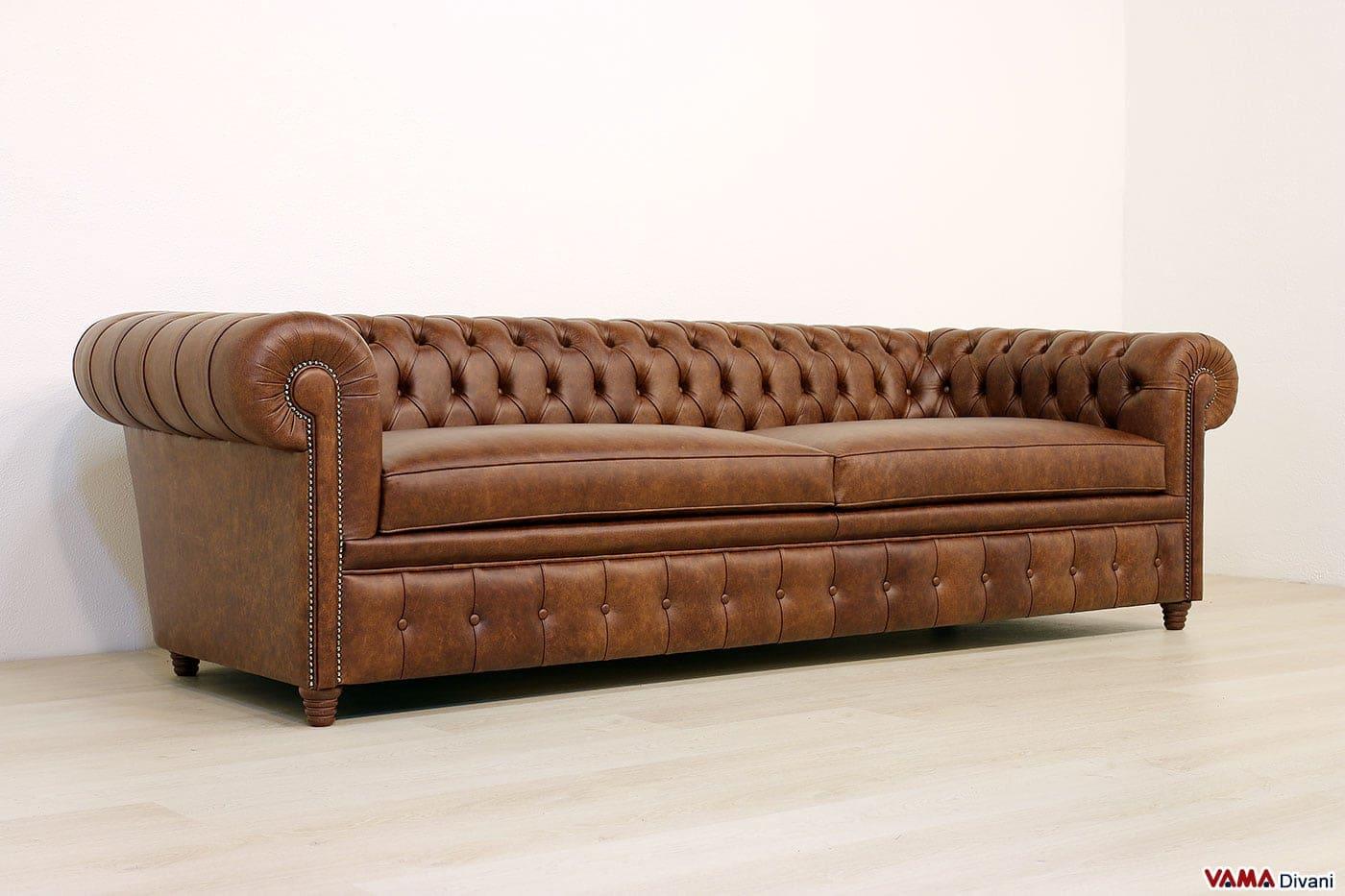 Divano chesterfield profondo di grandi dimensioni in pelle - Profondita divano ...