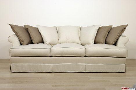 Divano classico tessuto bianco grigio 3 posti