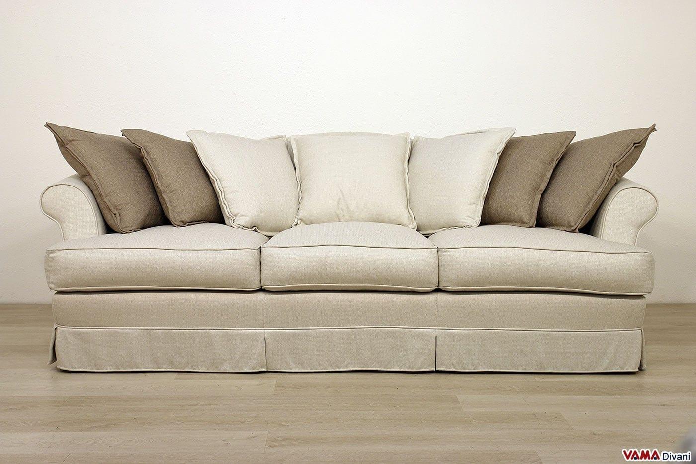 Divano in tessuto sfoderabile in stile classico ville - Divano bianco e grigio ...