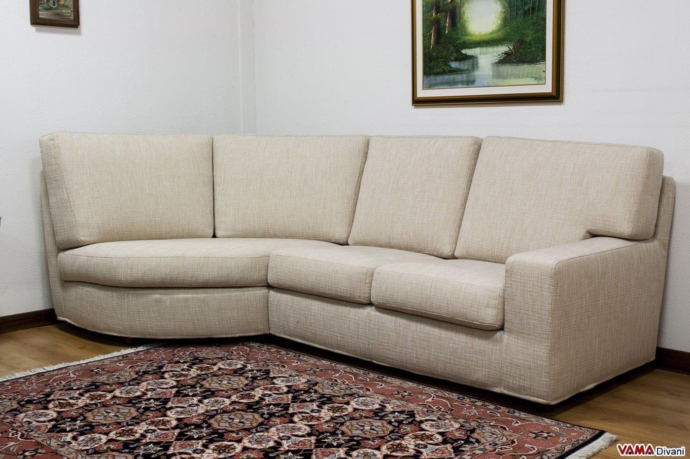 divano angolare in tessuto sfoderabile con angolo stondato