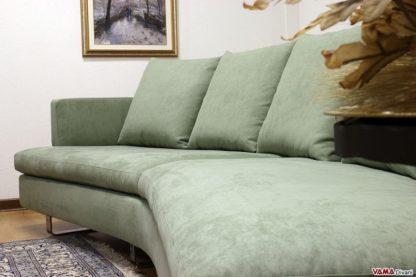 Divano verde moderno in tessuto curvo semitondo design