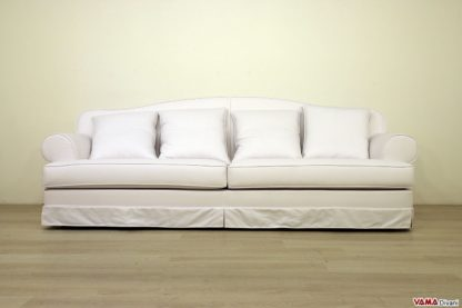 Divano classico su misura in tessuto cotone bianco