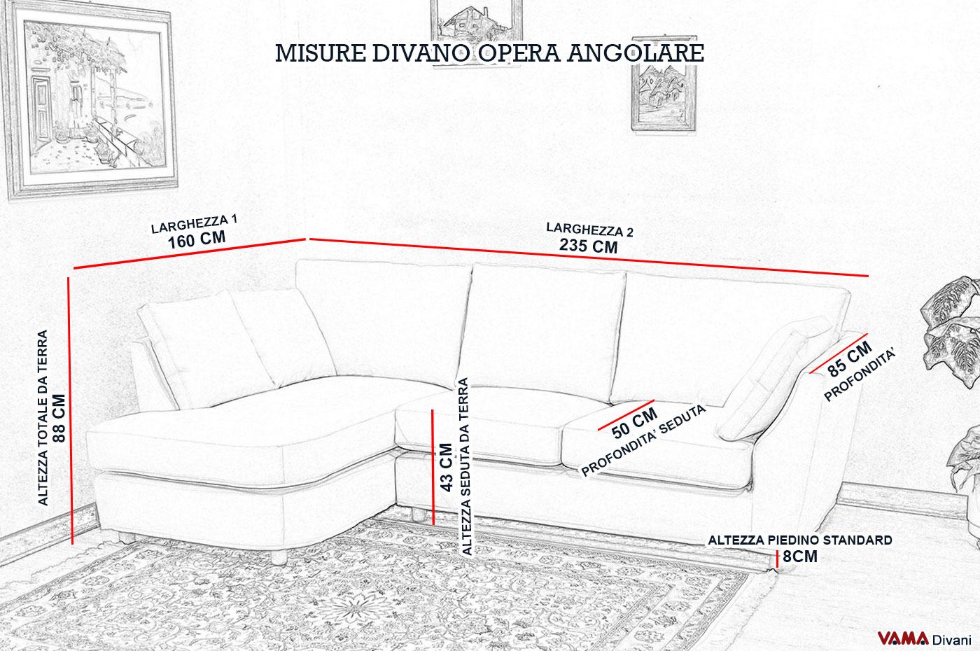 Divano angolare piccolo in tessuto realizzabile su misura - Misure standard divano ...