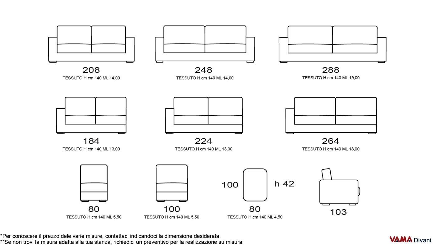 divano moderno di design in tessuto grigio anche su misura