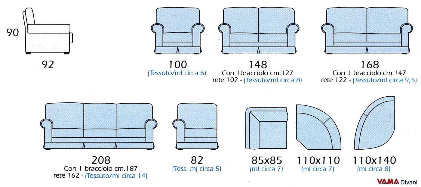 Divano classico in tessuto floreale ad angolo bingo - Misure divano ad angolo ...