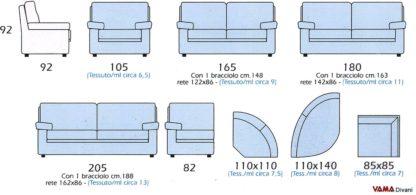 Misure e dimensioni Divano con angolo tondo