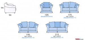 Misure divano classico VIlle