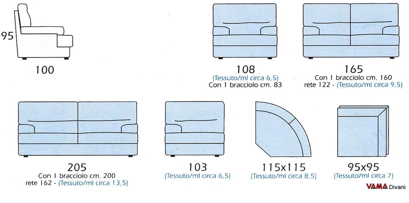 Divano in microfibra con schienale alto e avvolgente - Misure divano al ...