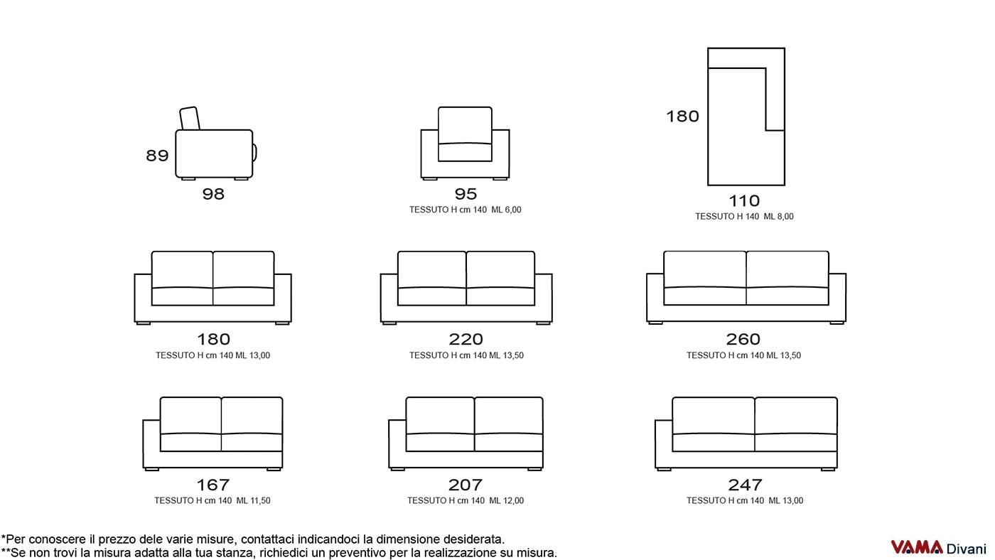 Dimensioni divano divano letto angolare tessuto antracite for Misure divani