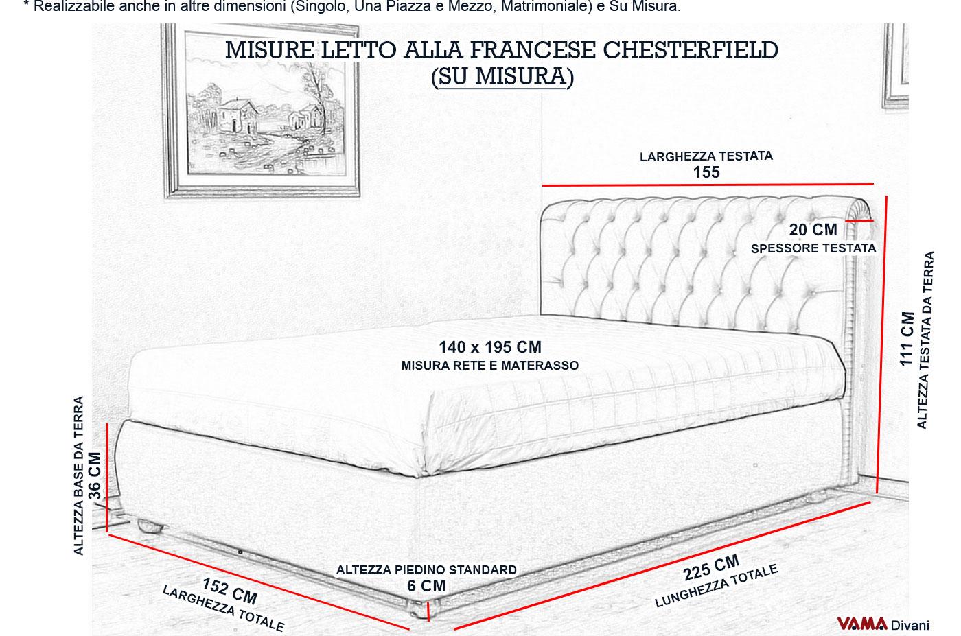 Letto chesterfield rosso con contenitore alla francese 140 cm - Misure letto alla francese ...