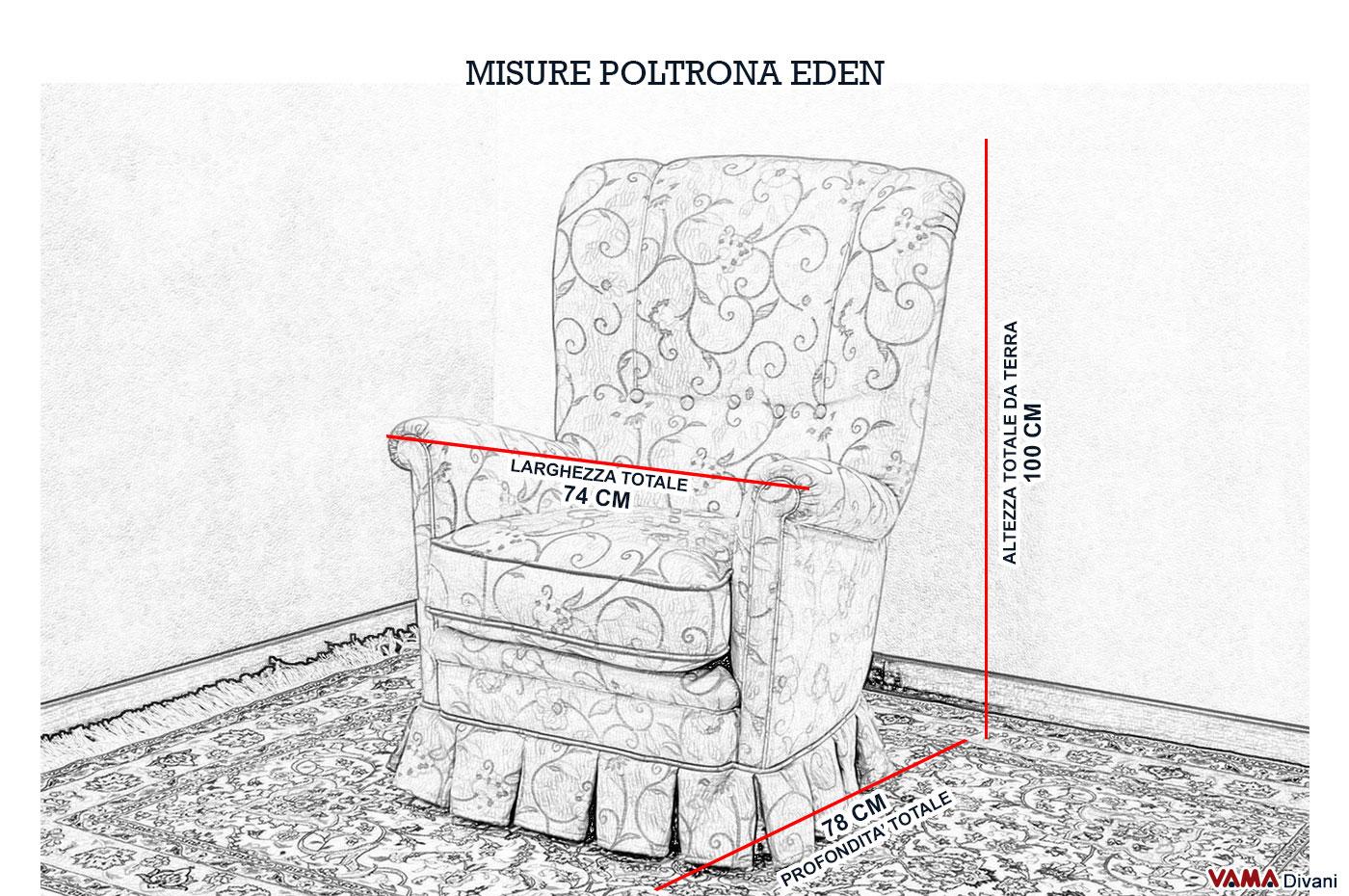 Poltrona classica in tessuto con gala da camera da letto for Poltrone di piccole dimensioni