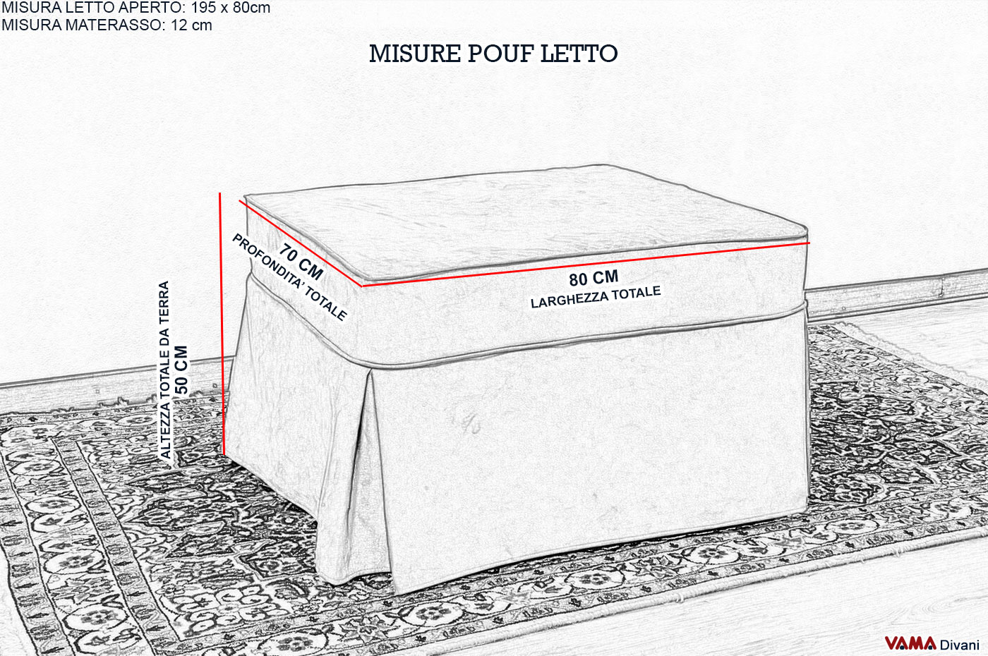 Pouf letto singolo sfoderabile prezzi e vendita on line - Misura standard letto matrimoniale ...