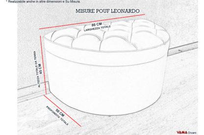 Misure Pouf Mezzo Cerchio in capitonnè e contenitore
