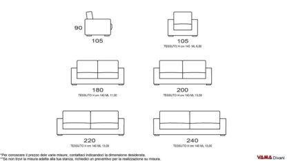 Misure divano classico in tessuto sfoderabile