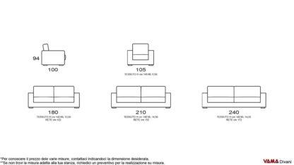 Misure dimensioni divano classico in tessuto