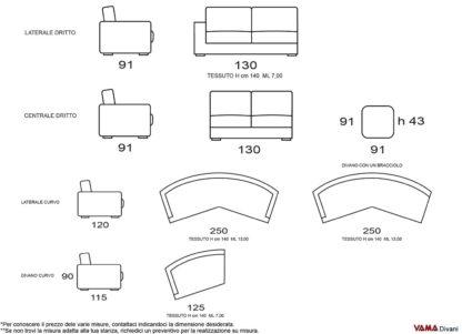 Misure divano moderno curvo tondo di grandi dimensioni