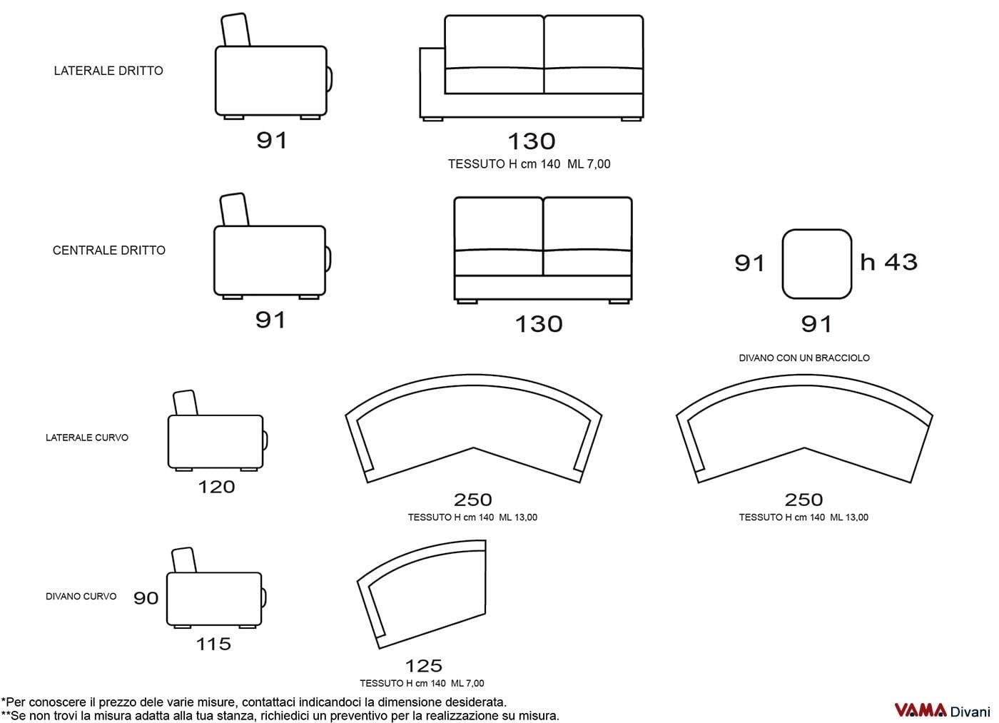 Divano moderno semitondo in tessuto sfoderabile di grandi for Dimensioni divano