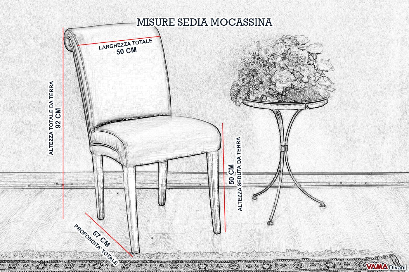 Sedia in pelle imbottita in stile classico for Sedia misure