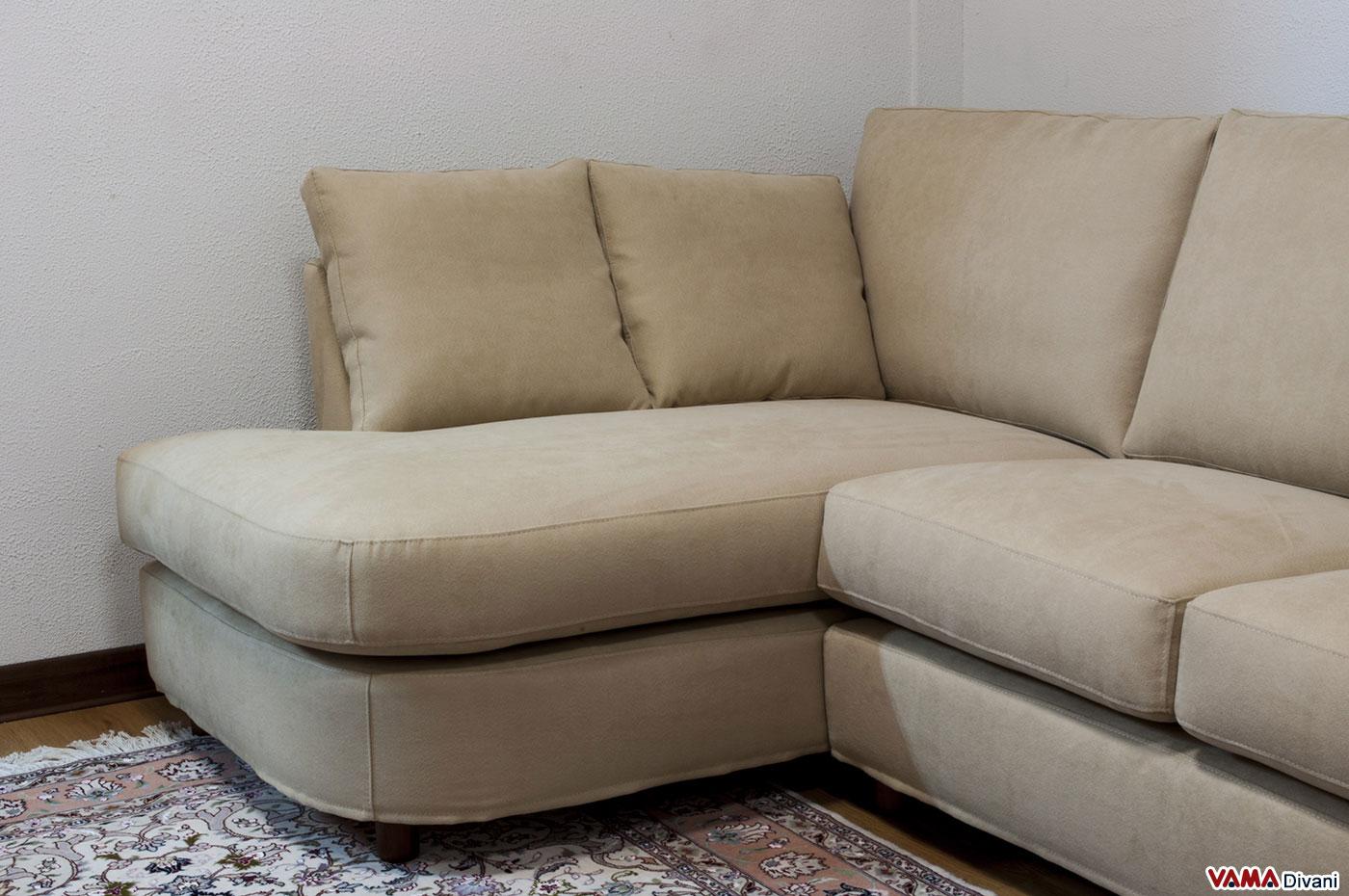 Divano angolare piccolo in tessuto realizzabile su misura - Microfibra divano ...