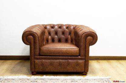 Poltrona Chesterfield in Pelle Invecchiata vintage marrone