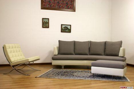Poltrona barcellona panna con divano moderno