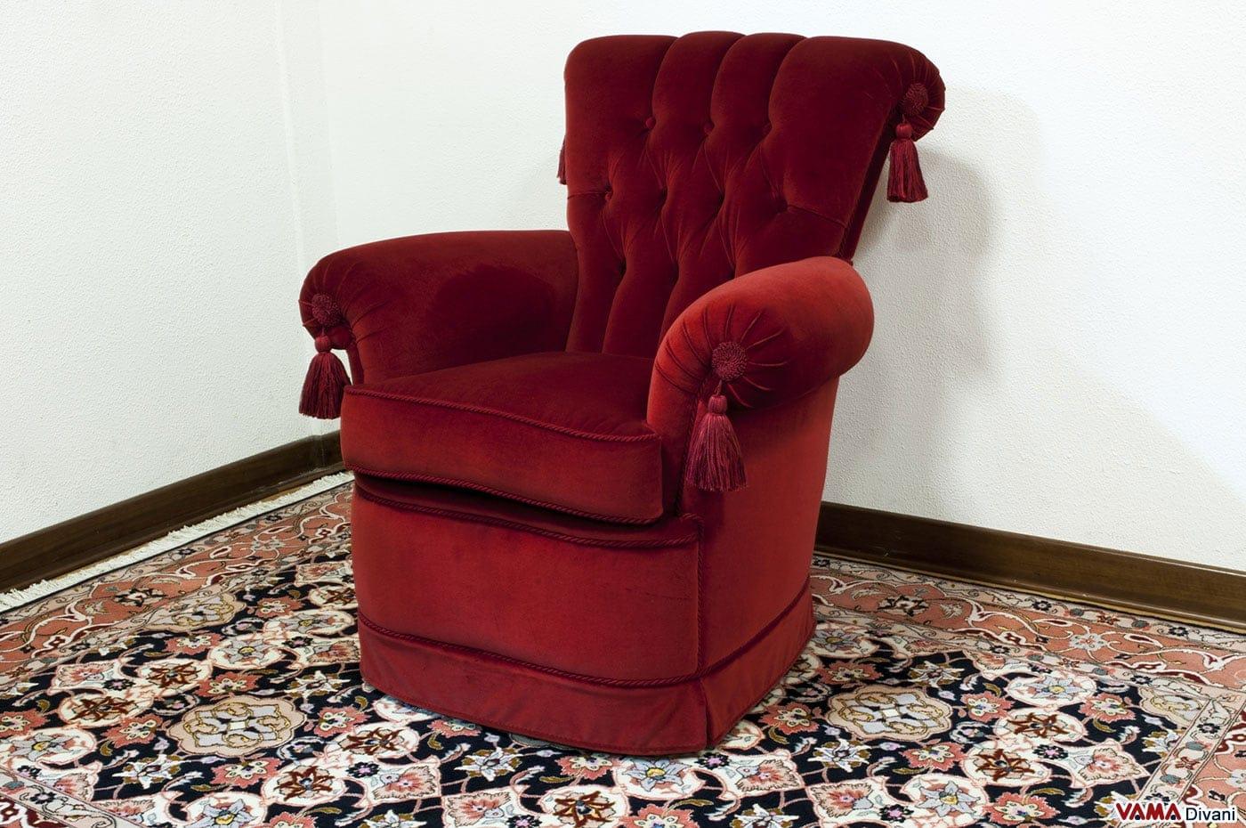 Poltroncina da camera da letto classica in tessuto e pelle - Poltroncina camera da letto ...