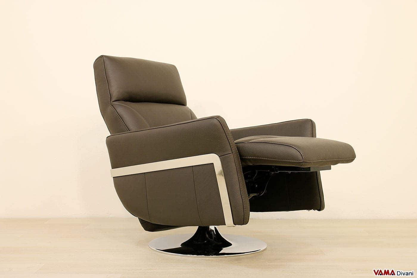 Poltrona moderna relax manuale in pelle marrone cioccolato